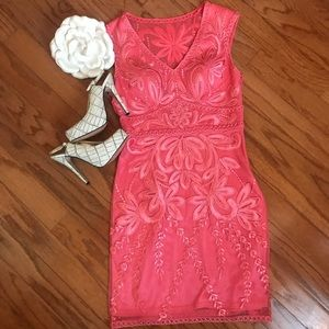 Cach'e, coral colored embroidery dress